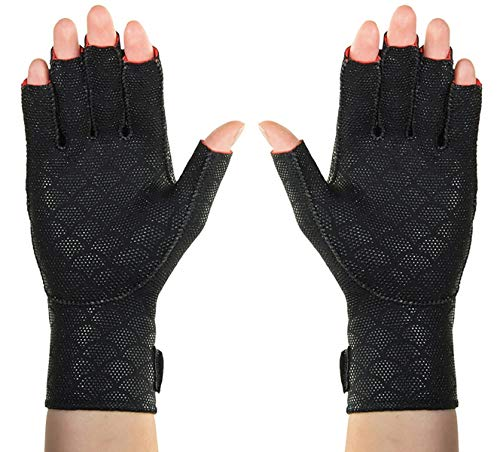 Thermoskin Arthritic Fingerless Gloves, Black, Small, 7