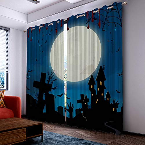 Prime Leader Curtains for Living Room- Darkening Thermal Insulated Window Treatment Curtains, with Grommet Home Decor Halloween Castle and Tomb (2 Panels, 52 x 72 Inch Each Panel) ()