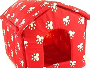Pet House/pet Bed - Paw Print Collapsible Puppy/cat House in Red