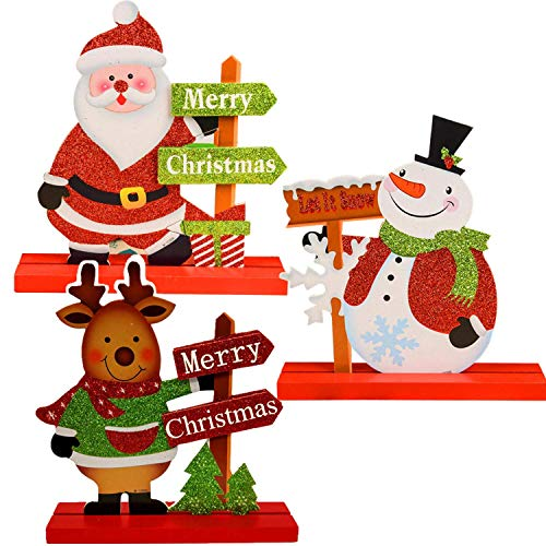3 Christmas Table Decorations Gift Boutique for Office Desk Shelf Kitchen Dinner Party Coffee Table Snowman Santa Reindeer Merry Christmas Happy Holidays Centerpiece (3Pack)