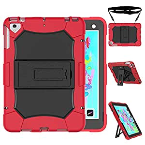 Venoro iPad 9.7 2018/2017 Case, iPad Pro 9.7 Case, Shockproof Defender Protective Case Cover with Kickstand Compatible iPad 6 / iPad 5 / iPad air / A1823 / A1822 / A1893 / mp252ll (Red)