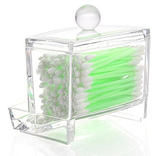 Clear Cotton Swabs Balls Buds Holder Makeup Cosmetic Facial Beauty Cotton Swab Q-Tips Container Storage Case Cotton Pads Top Compartment with Lid Dispenser Organizer Brussels08