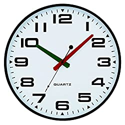 Tempus® Slim Profile Wall Clock with Green and Red Contrasting Hands and Silent Sweep Quiet Movement, 13, Black