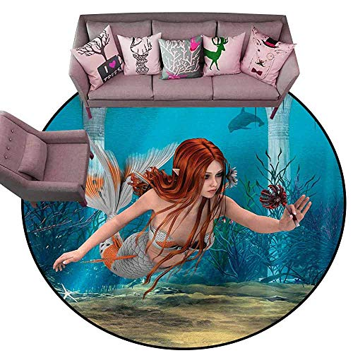 (Kitchen Doormat Mermaid,Lifelike Mermaid Holding a Sea Lily Magic Aquatic World Theme,Light Blue Burnt Sienna Yellow Diameter 48