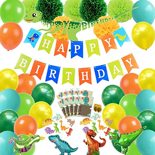 Dinosaur Party Supplies-78 Pcs Birthday Decorations for Kids-Happy Birthday Banner-Green Yellow Orange Latex Balloons-Invitation Cards-Cake Toppers-Pom - Orange Invitations Party