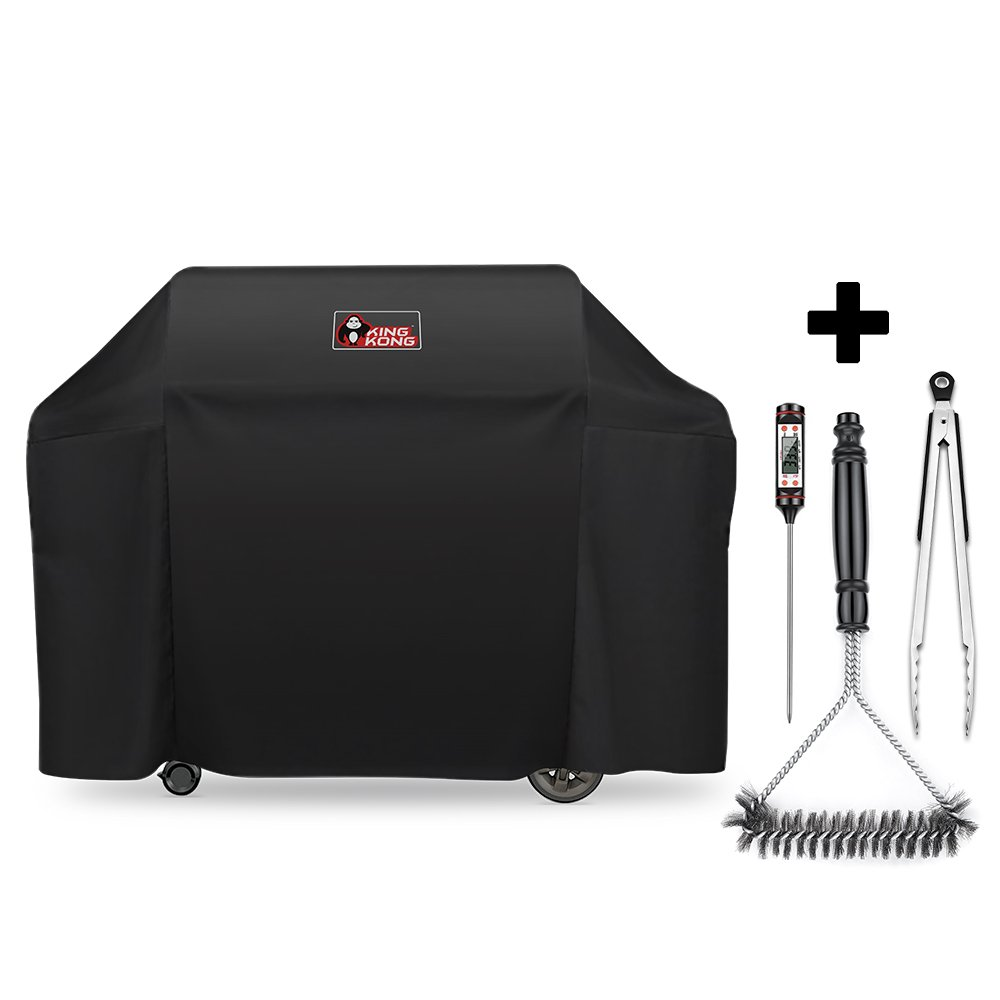 Kingkong 7131 Grill Cover for Weber Genesis II 4 Burner Grill including Brush, Tongs and Thermometer by King Kong