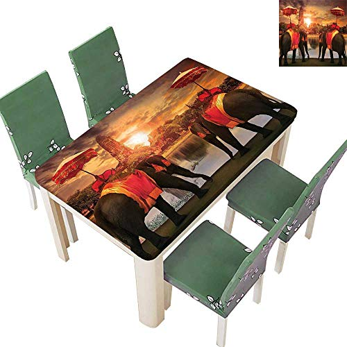 Printsonne Spillproof Fabric Tablecloth Dr s Traditi al Costum Stand Pagoda Patience Sage Kitchen Washable 54 x 102 Inch (Elastic Edge)