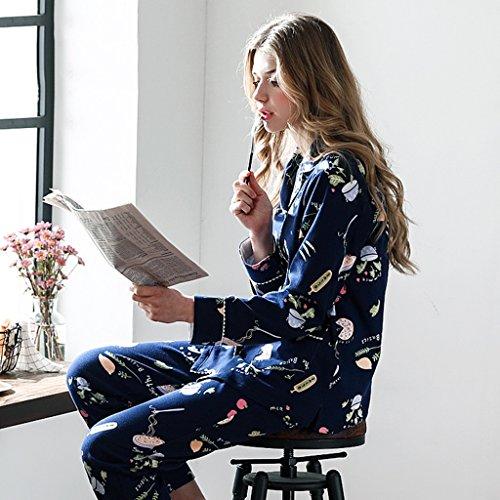 Pigiama in cotone blu Pantalone a manica lunga da donna Set di sezione sottile primavera e autunno Può essere indossato al di fuori Home Set ( Size : 165cm )