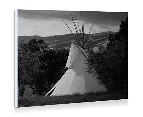 A Photo Of A Plains Indian Teepee At Sunrise - Art Print Wall Art Frameless Decorative Painting - Black and White - Ready To Hang - 24x16 Inches - -