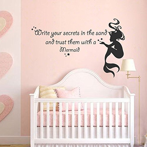 Mermaid Wall Decal Quote - Write your secrets in the sand - Beach Wall Decal Girls Room Baby Nursery Vinyl Decal Sticker(Black, 14