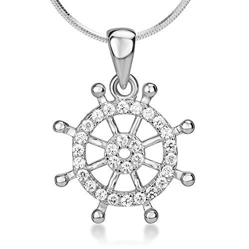 Chuvora 925 Sterling Silver Cubic Zirconia CZ Nautical Navy Sailor Ship Wheel Symbol Pendant Necklace 18