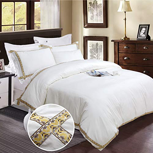 (Softta King Size Luxury Vintage Simple White Gold and Brown line Jacquard Process Ribbon Patchwork Pure White Zipper Closure Bedding Set 3Pcs(1 Duvet Cover+ 2 Pillowcases 100% Egyptian Cotton.)