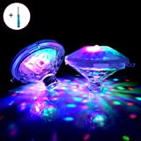 Efay Swimming Pool Lights Floating LED Lights Waterproof 7 Lighting Modes Lights with Screw Driver for Baby Bath Tub, Pond, Pool, Aquarium, Party, Weeding, Home Decoration, Christmas(2-Pack)