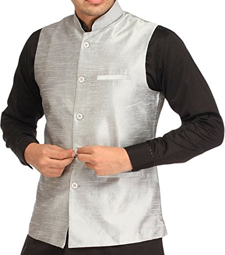 Royal Kurta Men's Silk Blend Ethnic Bundi Nehru Jacket For Festive Fusion Wear 44 Silver Silver Fusion Jackets