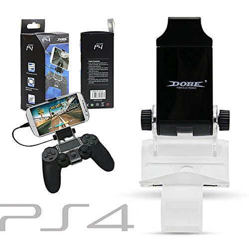 2win2buy-PS4PS4-Slim-Smart-Clip-Holder-for-PlayStation-4-Dualshock-Controller-180-Degree-Adjustable-Mount-Stand-Best-Clamp-Bracket-for-Samsung-Sony-and-Other-Android-Phone-Up-To-6