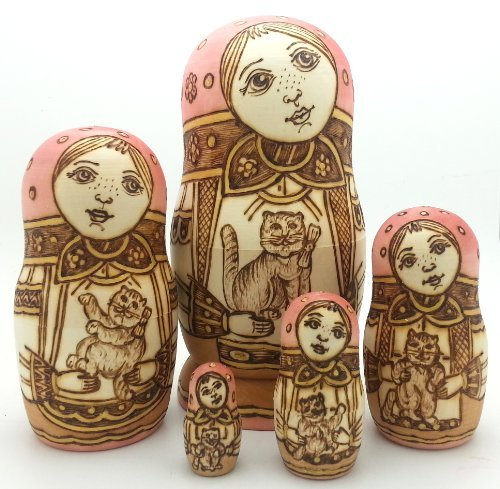 [Russian Nesting dolls Wood Burned Hand Carved Hand Painted 5 piece DOLL Set / 6