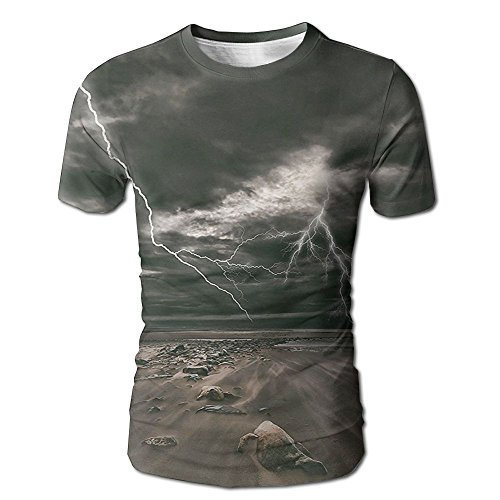 Kooiico Mens Lake Lightning Flashes Across The Sandy Beach From A Powerful Storm Radiant Beams Print Classic T-shirt White XL