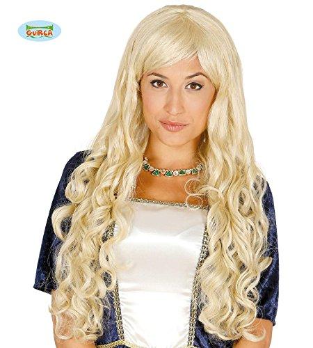 hellblonde sexy Langhaar Perücke Prinzessin Karneval Motto Party Zubehör für Damen blond Guirca