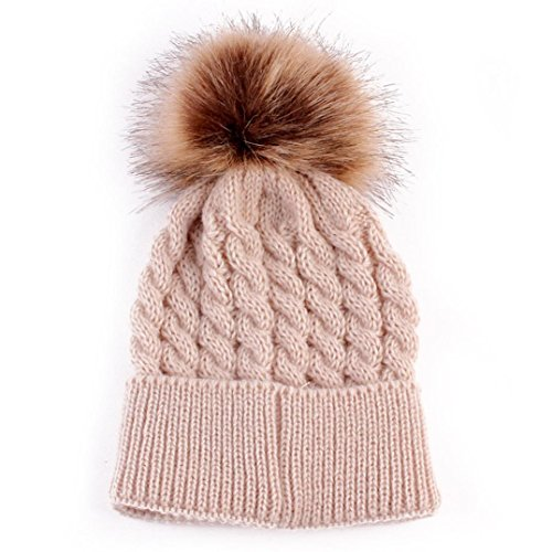 Perman Newborn Cute Winter Kids Baby Hats Knitted Wool Hemming Hat (0-36 Months, Beige)