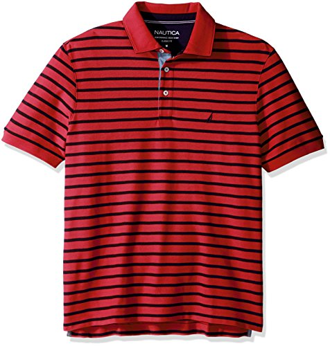 Nautica Men's Classic Fit Short Sleeve Striped Polo Shirt, Rose Coral, X-Small