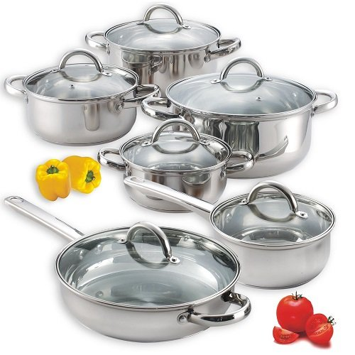 Cookware Set 12 Piece Stainless Steel Pot and Pan Kit with Lids