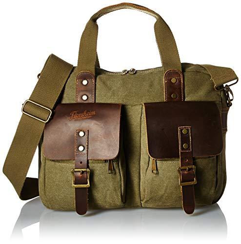 Florsheim Canvas Top Zip Briefcase, Olive, One Size