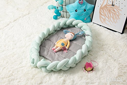 LOAOL Baby Crib Nest Bed Newborn Co Sleeper Knotted Braided Naper Infant Nursery Decor Cradle Bumper (Mint, 17.7