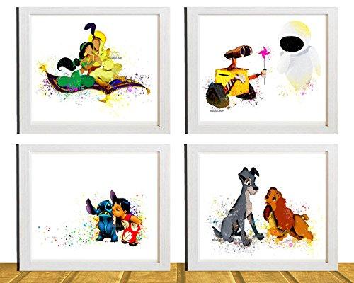 4 piece set  - Disney Movie Art Prints - Nursery Decor - Wal
