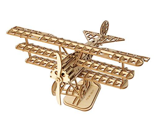 PONTE COLLECTION Wooden Build 3D Puzzle Airplane Wood Model Toy Kit 145-piece Warplane Model Fighter Toy Gifts for Boys