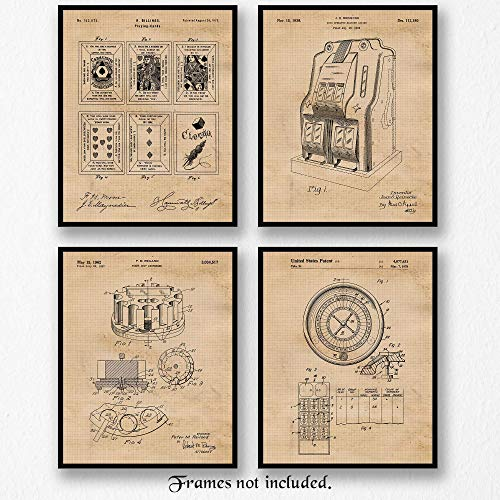 Original Gambling Patent Art Poster Print- Set of 4 (Four 8x10) Unframed Pictures- Great Wall Art Decor Gifts Under $20 for Home, Office, Garage, Man Cave, Gamer, Poker Fan, Las Vegas-Casinos Fan (Casino Vegas Las Vintage)