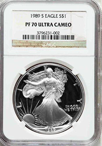 1989 S American Silver Eagle Dollar DCAM NGC PF70