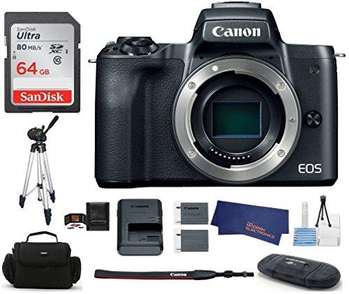 Canon EOS M50 Mirrorless Digital Camera Body -Black (USA Warranty) Bundle, Includes: 64GB SDXC Class 10 Memory Card + Full Size Tripod + Spare Battery + More