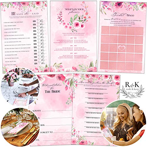 Premium Bridal Shower Games Set Modern Watercolor Floral Design (Set of 5 Activities for 50 Guests) 8.5x5.5 inches Large Size Includes Marriage Advice Cards, Bridal Bingo - Wedding Shower Decorations