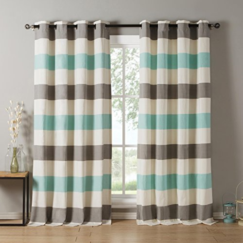 D.R.T Striped Cotton Blend Grommet Top Window Curtain Pair Panel Insulated Drapes For Bedroom, Livingroom, Kids, Children, Nursery - Assorted Colors - 38 by 84 Inch, Set of 2 Panels - Grey | Blue (Modern Chair Striped)