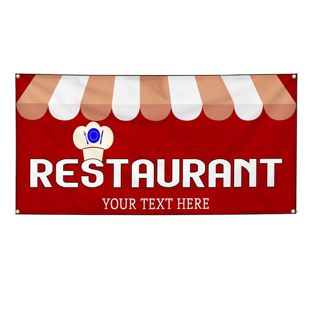 Custom Industrial Vinyl Banner Multiple Sizes Restaurant Style A Personalized Text Here Funny and Novelty Outdoor Weatherproof Yard Signs Red 10 Grommets 56x140Inches