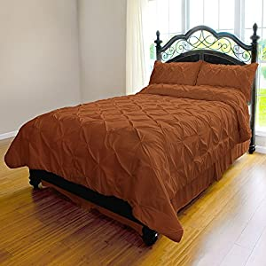 Pinch Pleat Duvet Cover - 3-Piece Microfiber Set by ExceptionalSheets, King/Cal-King, Orange