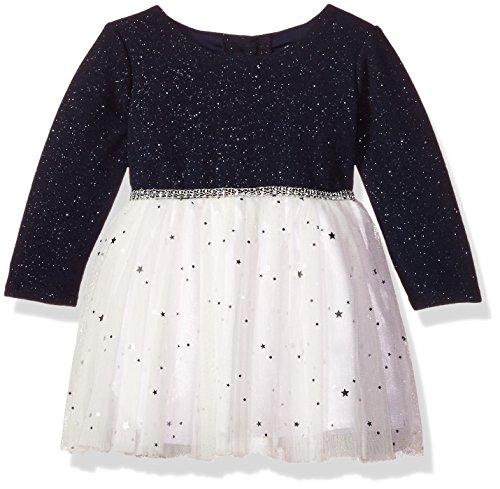 Sparkle Knit Dress (Youngland Baby Girls Sparkle Texture Knit Ballerina Dress, Navy/Ivory, 0-3 Months)