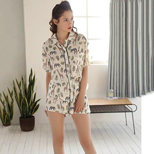 年電子はさみGAODUZI パジャマ女性用夏半袖韓国版カーディガンコットンホームウェア薄型下着女性用夏用コットンツーピーススーツ(パジャマ+ショーツ)