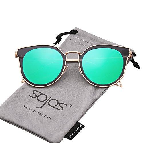 SojoS Fashion Polarized Sunglasses UV Mirrored Lens Oversize Metal Frame SJ1057 With Gold Frame/Green Mirrored - Green Blue Reflective Sunglasses