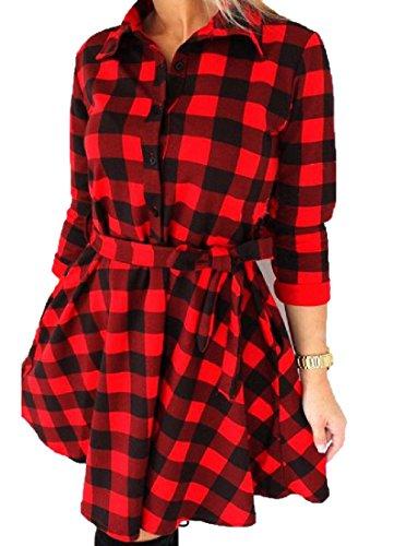 Femmes Confortables Carreaux Bouton Moulantes Bas 3/4 Blouses Revers Manches Robe Rouge