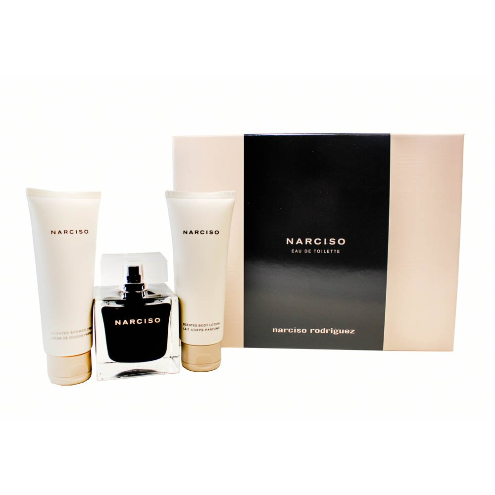 Narciso Rodriguez 3 Piece Gift Set (Eau De Toilette Spray 3.3 Oz & Body Lotion 2.5 Oz & showergel 2.5 Oz) for Women, 3.3 fl. Oz. NAR55