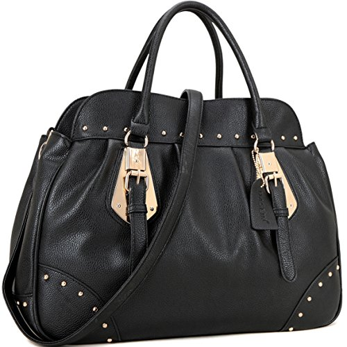 Top Handle Shoulder Bag Vegan Leather Satchel Handbag Studded Purse Large