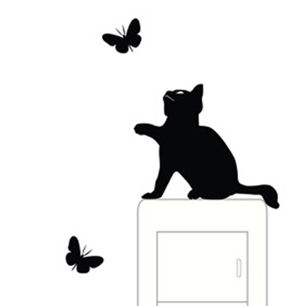 Amazon susenstone catwall stickers light switch decor wall stickers franterd cat light switch decor decals art mural baby nursery room amipublicfo Image collections