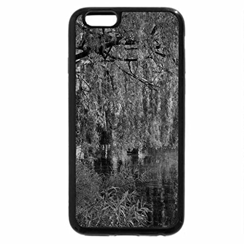 iPhone 6S Plus Case, iPhone 6 Plus Case (Black & White) - Green tree over pond