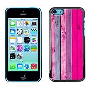 KOKO CASE / Apple Iphone 5C / diseño de la pared de madera de color rosa púrpura de la decoración / Delgado Negro Plástico caso cubierta Shell Armor Funda Case Cover
