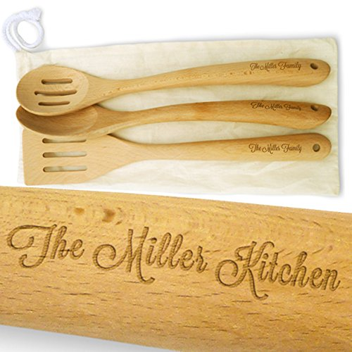 Cookbook People Personalized 14in Large Sturdy Wood Spatula and Spoon Set - Add your name to handles - Cotton Gift Bag - Beech Hard Wood - Heirloom Quality