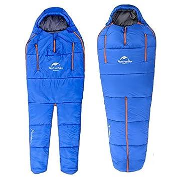 CAMTOA saco de dormir práctica forma pata momia Ultra ligero, pourraient ser Reliés les uns en los otros, Libérez vos manos y pies), azul: Amazon.es: ...