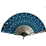 Beautiful Lady's Silk Hand Fan with Blue Sequins -1 Pcs