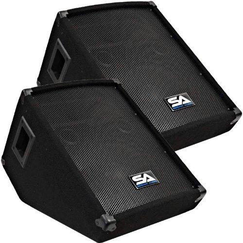 Seismic Audio - Pair of 10'' Wedge Style FLOOR MONITORS - Studio, Stage, or Floor use - PA/DJ Monitors by Seismic Audio