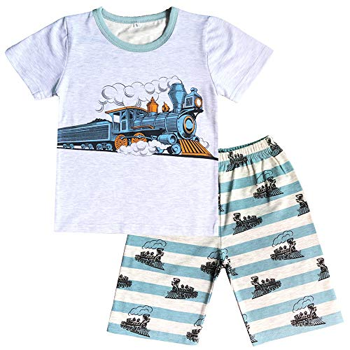 Little Boys Pajamas Shorts Set for Toddler Summer Clothes Trian Dinosaur Sleepwear Cotton 2 Piece Kids Pjs Size 1-8 Years ()